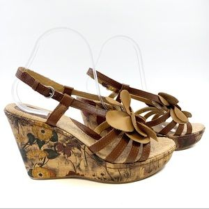 B.O.C. Brown Leather Straps Floral Wedge Sandals